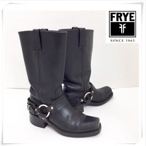 Frye Harness Belt with Buckle Black Leather Boot